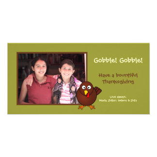 Green turkey gobble Thanksgiving photo greeting Personalized Photo Card