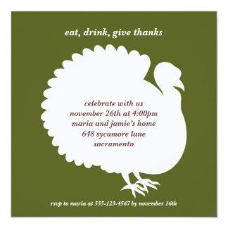 Green turkey square Thanksgiving invitation card