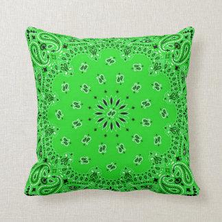 Green/Turquoise Back Western Bandana Scarf Fabric Throw Pillow