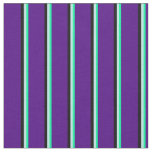 [ Thumbnail: Green, Turquoise, Black & Indigo Striped Pattern Fabric ]
