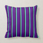 [ Thumbnail: Green, Turquoise, Black & Indigo Striped Pattern Throw Pillow ]