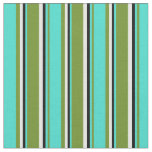 [ Thumbnail: Green, Turquoise, Black & Mint Cream Colored Fabric ]