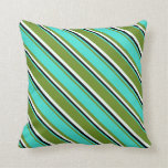 [ Thumbnail: Green, Turquoise, Black & Mint Cream Colored Throw Pillow ]