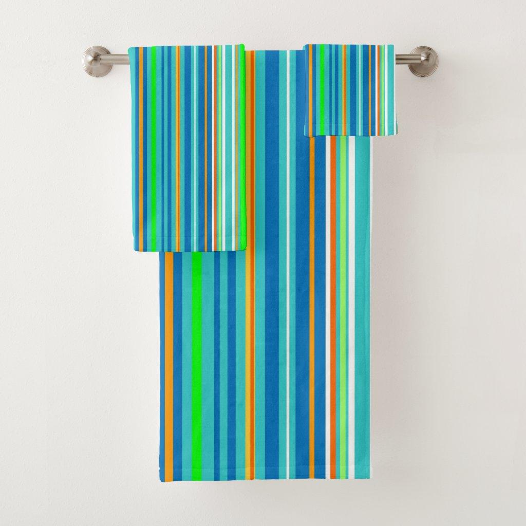 Green Turquoise Blue Orange Stripes Bath Towels