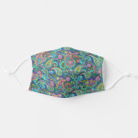Green Turquoise Blue Pink Indian Floral Paisley Cloth Face Mask