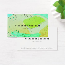 Green Turquoise Brush Strokes Business Card