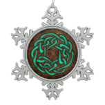 Green turquoise celtic knot on leather digital art snowflake pewter christmas ornament