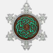 Green turquoise celtic knot on leather digital art