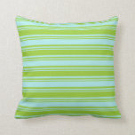[ Thumbnail: Green & Turquoise Colored Lines Pattern Pillow ]
