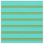 [ Thumbnail: Green & Turquoise Colored Lines/Stripes Pattern Fabric ]