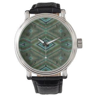green turquoise diamond shaped design wristwatches