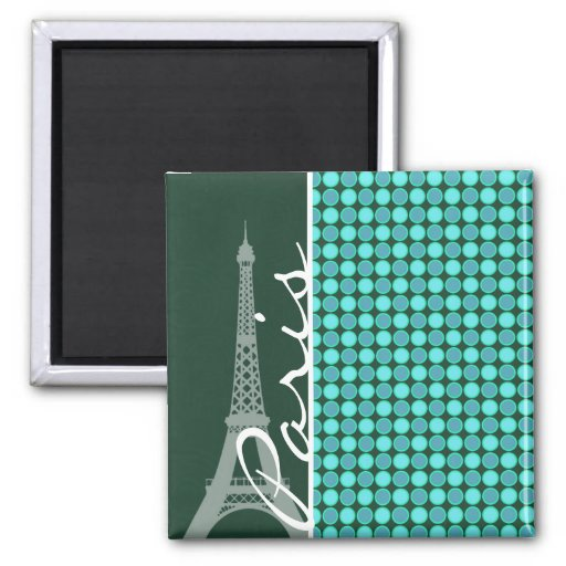 Green & Turquoise Eiffel Tower Magnets