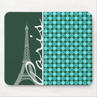 Green & Turquoise Eiffel Tower Mouse Pad