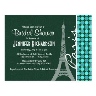 Green & Turquoise Eiffel Tower Postcard