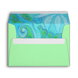 Green Turquoise Floral Watercolor Envelope