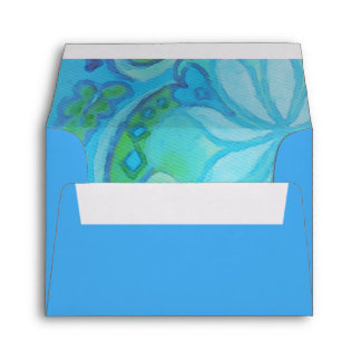 Green Turquoise Floral Watercolor RSVP Envelope