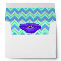 Green Turquoise Lavender Chevron ZizZag Envelope