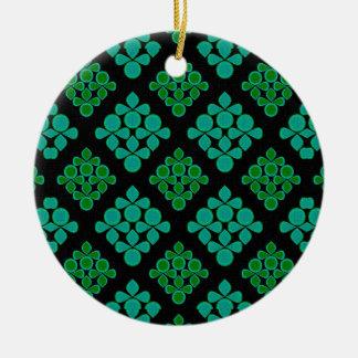 Green Turquoise Leaves Rhomb Pattern Ceramic Ornament