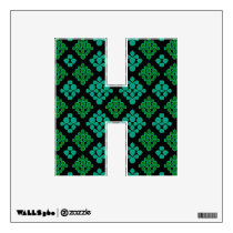 Green Turquoise Leaves Rhomb Pattern Wall Sticker