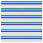 [ Thumbnail: Green, Turquoise, Light Sky Blue, Blue & White Fabric ]
