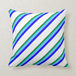 [ Thumbnail: Green, Turquoise, Light Sky Blue, Blue & White Throw Pillow ]