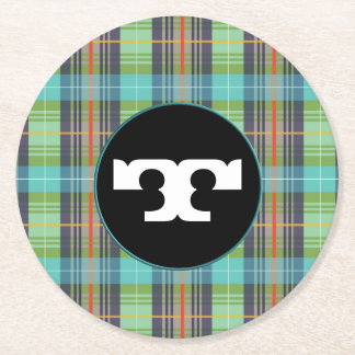 Green Turquoise Organge Plaids Round Paper Coaster