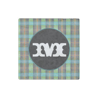 Green Turquoise Organge Plaids Stone Magnet