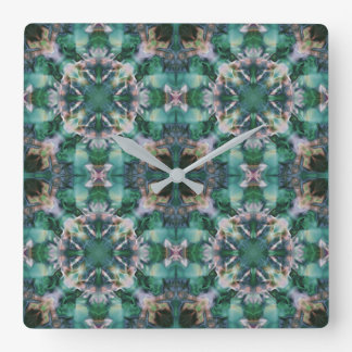 Green-turquoise ornament square wall clock