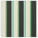 [ Thumbnail: Green, Turquoise, Pale Goldenrod, Black, Dark Blue Fabric ]