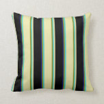 [ Thumbnail: Green, Turquoise, Pale Goldenrod, Black, Dark Blue Throw Pillow ]