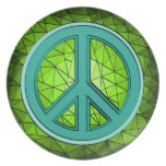 Green & Turquoise Peace Sign Dinner Plates