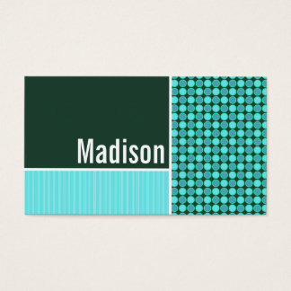 Green & Turquoise Polka Dots Business Card