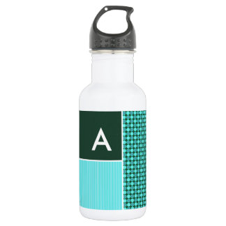 Green & Turquoise Polka Dots Water Bottle