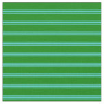 [ Thumbnail: Green & Turquoise Striped Pattern Fabric ]