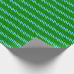 [ Thumbnail: Green & Turquoise Striped Pattern Wrapping Paper ]