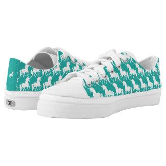 Green Turquoise Unicorn Pattern Trendy Stylish Fun Low-Top Sneakers