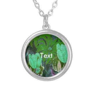 Green Turquoise Vintage Botanical Tulips Round Pendant Necklace