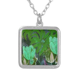 Green Turquoise Vintage Botanical Tulips Square Pendant Necklace