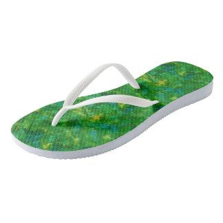 Green Turquoise Watercolor Flip Flops