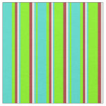 [ Thumbnail: Green, Turquoise, White & Brown Colored Lines Fabric ]