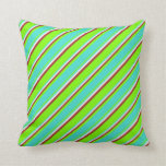 [ Thumbnail: Green, Turquoise, White & Brown Colored Lines Throw Pillow ]