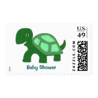 Green Turtle Applique Baby Shower Postage