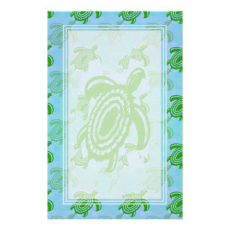 Green Turtle Blank Stationery