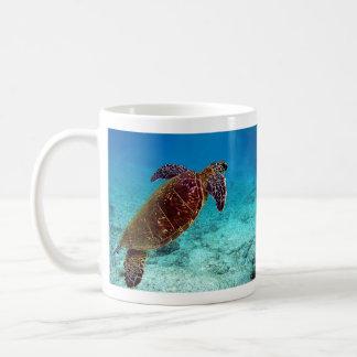 Green Turtle Chelonia Mydas is going for the air Coffee Mug