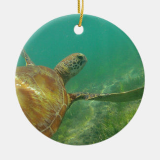 Green-turtle-Great-Barrier-Reef.JPG Double-Sided Ceramic Round Christmas Ornament