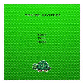 """Green Turtle 5.25"""" Square Invitation Card"""