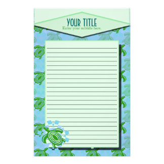 Green Turtle Lined Stationery