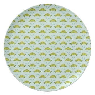 green turtle pattern dinner plates