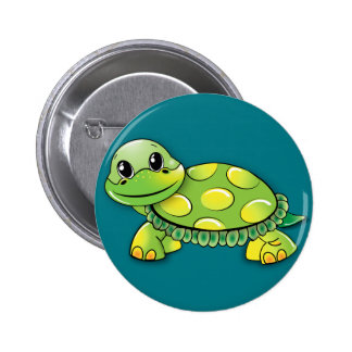 Green turtle pinback button