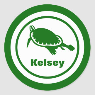 Green Turtle with Name Classic Round Sticker